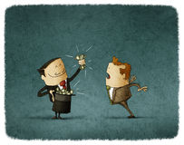 Magic trick with money. Magician doing a trick with money and a business man looks at him surprised vector illustration