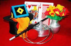 Magic Tricks and illusion. A collection of professional props used by a magician or illusionist Royalty Free Stock Photography