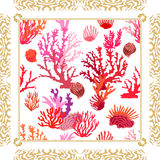 Magic undersea world. Silk scarf with tropical motifs. Royalty Free Stock Images