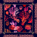 Magic undersea world. Silk scarf with tropical motifs. Royalty Free Stock Photography