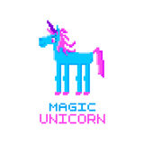 Magic unicorn. Abstract unicorn image in the eight bit style on a white background. Stock Photos