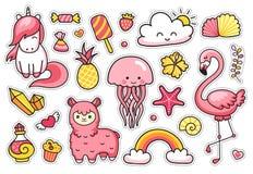 Magic unicorn, alpaca, jellyfish, pink, flamingo. royalty free illustration