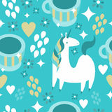 Magic Unicorn Cafe. A seamless pattern with unicorns and coffee cups Royalty Free Stock Photography