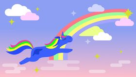 Magic Unicorn flies across the sky with a rainbow and clouds. Vector illustration.