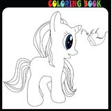 Coloring book young baby unicorn, horse or pony theme with butterfly royalty free illustration