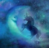Magic unicorn and moon. Cute magic unicorn and moon stock illustration