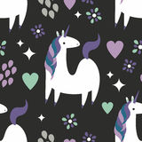 Magic Unicorn Pattern. A fun seamless unicorn pattern with hearts and flowers Royalty Free Stock Images