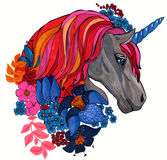 Magic unicorn portrait with flowers hand drawing illustration Stock Photo