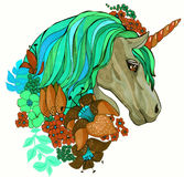 Magic unicorn portrait with flowers hand drawing illustration Stock Photography