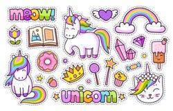 Magic unicorn, rainbow, book, meow, crown, ice cream, crystal, diamond, heart, book, donut. royalty free illustration