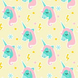 Magic Unicorn seamless pattern. Modern fairytale endless textures, magical repeating backgrounds. Cute baby backdrops Stock Images