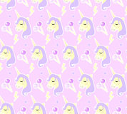 Magic Unicorn seamless pattern. Modern fairytale endless textures, magical repeating backgrounds. Cute baby backdrops Royalty Free Stock Photo