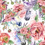 Magic unicorn watercolor pattern. roses flowers seamless background royalty free illustration