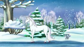 Magic Unicorn in a Winter Forest. An New Year`s Eve. Handmade animation in classic cartoon style stock footage