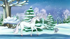 Magic Unicorn in a Winter Forest. An New Year`s Eve. Handmade animation in classic cartoon style royalty free illustration