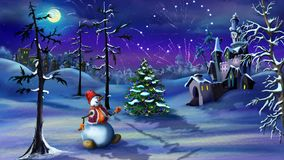 Magic Unicorn in a Winter Forest. An New Year`s Eve. Handmade animation in classic cartoon style stock video