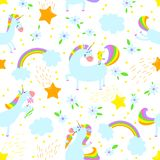 Magic unicorns background. Seamless pattern with mistycal horse. With corn and stars and rainbow with clouds. Cute character with bird, flower and eating Stock Illustration