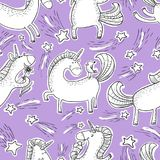 Magic unicorns background. Seamless pattern with mistycal horse. In doodle children style. Cute character with bird, flower and eating icecream. Sketchy vector Vector Illustration