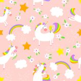 Magic unicorns background. Seamless pattern with mistycal horse. With corn and stars and rainbow with clouds. Cute character with bird, flower and eating Vector Illustration