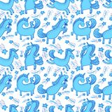 Magic unicorns background. Seamless pattern with mistycal horse. In doodle children style. Cute character with bird, flower and eating icecream. Sketchy vector Royalty Free Illustration