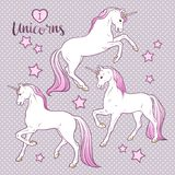Magic unicorns and stars set hand drawn design for kids in pastel colors vector illustration. Magic unicorns and stars set hand drawn design for kids in pastel Royalty Free Stock Photo