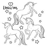 Magic unicorns and stars set isolated vector illustration. Coloring book pages for adults and kids.  stock illustration