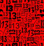 Magic unlucky number thirteen, typographical seamless background with black 13 on red area Royalty Free Stock Images