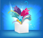 Magic vector background with open gift Royalty Free Stock Photos