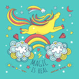Magic vector background, poster with unicorn and rainbow Royalty Free Stock Photography