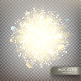 Magic vector luminous background. Bright flash on a transparent checkered background. Vector illustration EPS10 Royalty Free Stock Image