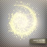 Magic vector luminous background. Golden glittering star dust trail. Shine particles isolated on transparent background. Dust cloud with glow light. Vector Stock Images
