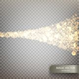 Magic vector luminous background. Glowing magical wave of glitter. Shine particles  on transparent background. Dust cloud with glow light. Vector illustration Stock Photography