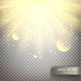 Magic vector luminous background. Realistic transparent yellow sun rays, warm orange flare effect isolated on checkered background. Sunshine from star, sunbeam Stock Image