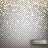 Magic vector luminous background. Shine particles isolated on transparent background. Dust cloud with glow light. Luxurious frame with a gold placer. Vector Royalty Free Stock Image