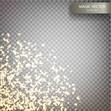 Magic vector luminous background. Shine particles isolated on transparent background. Dust cloud with glow light. Luxury decoration for design. Vector Stock Illustration
