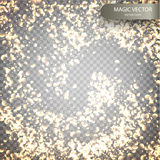 Magic vector luminous background. Starry Glitter Trail Background. Shine particles isolated on transparent background. Dust cloud with glow light. Vector Royalty Free Stock Photography