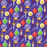 Magic vector tools magician fantasy carnival magical mystery cartoon miracle decoration seamless pattern background. Magic effect vector trick magician wand and Stock Photography