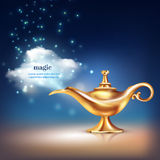 Magic Vessel Vapour Composition. Aladdin lamp cloud conceptual composition of realistic golden vessel and magic particulate materials with editable text vector Royalty Free Stock Photography