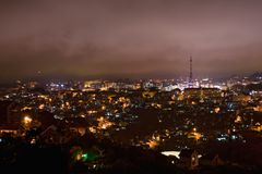 Magic view on the city of Da Lat at night, taken from Robin Hill. Royalty Free Stock Photo