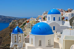 Magic view of Oia in Santorini Royalty Free Stock Photos