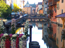 Magic village. Canals in Annecy,medieval town royalty free stock images