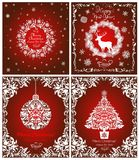 Magic vintage greeting red cards for winter holidays with cut out paper white wreath, Christmas tree, hanging ball, snowflakes, fl. Magic vintage greeting red Stock Photography