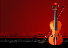 Magic violin. Violin on brown background, vector illustration stock illustration