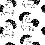 Unicorn pattern seamless vector background isolated on white.Vector pattern with cute unicorn. Stock Photography