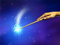 Magic wand. Female hand using a magical wand. Digital illustration Royalty Free Stock Photos