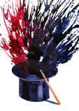 Magic wand. And black hat (Ekv painting Stock Image