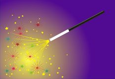 Magic wand. Making a little firework for New Year or other celebrations royalty free illustration