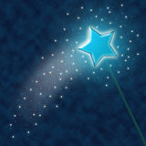 Magic wand. Illustration with sparkles and stars on a background of dark blue vector illustration
