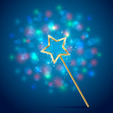 Magic wand on blue background Stock Images