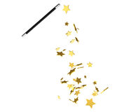Magic wand casting shiny golden stars Stock Photo